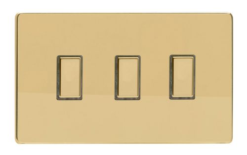 Varilight JDVES003S Screwless Polished Brass 3 Gang Touch Dimming Slave (use with V-Pro Master)